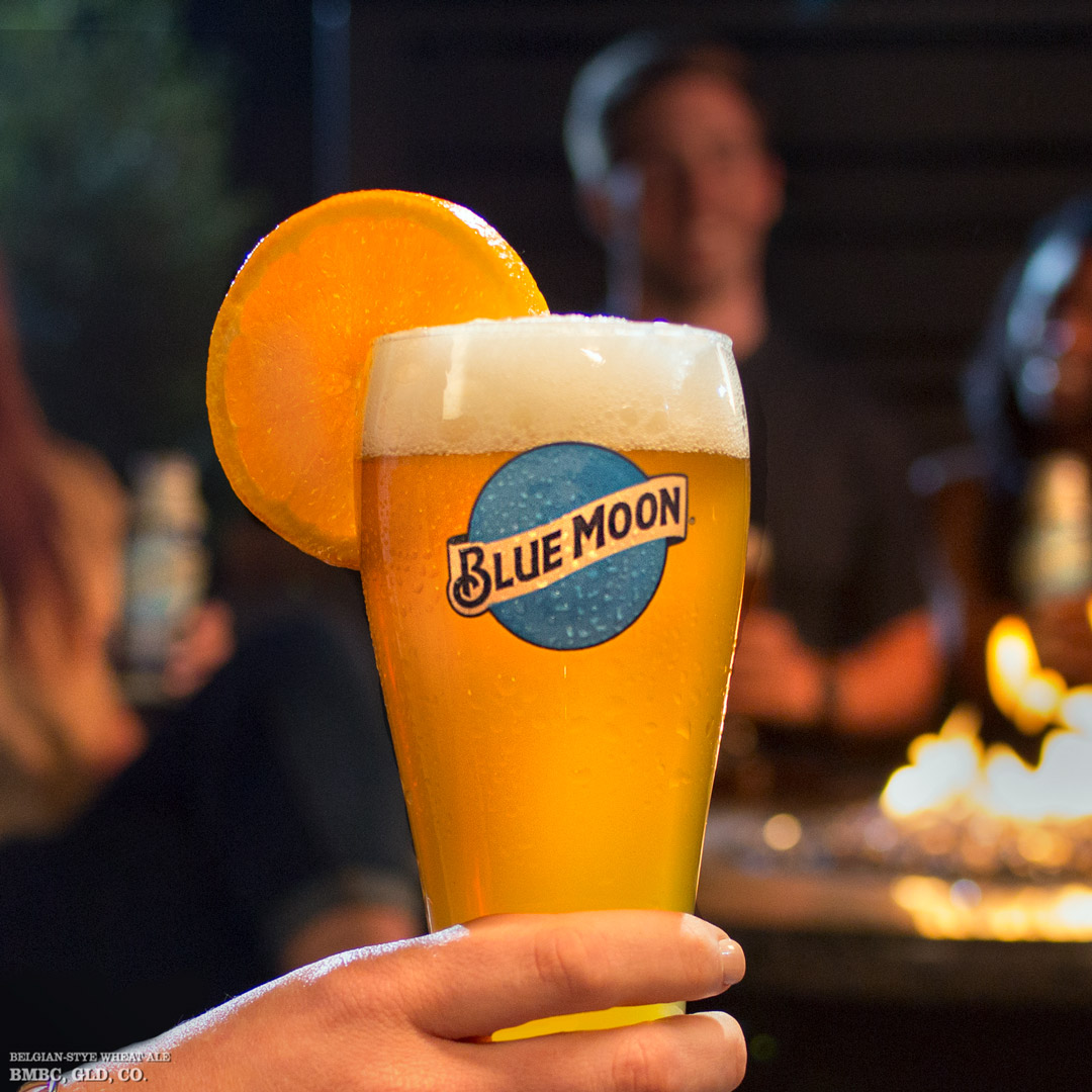 Blue Moon Glass with Orange Image