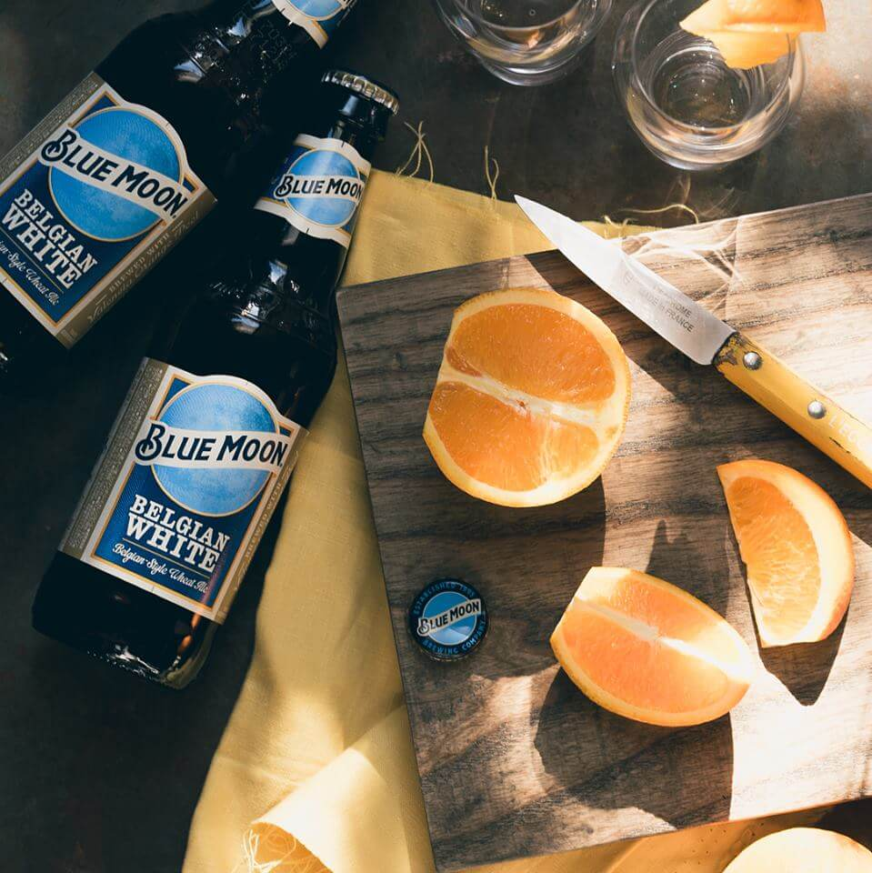 Blue Moon Belgian White with orange slices