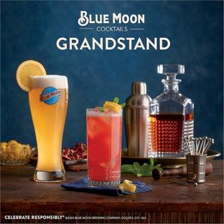 Grab your fancy hat and toast to Derby Day with a delicious Blue Moon Grandstand cocktail.