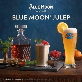 It's off to the races. ‪This Saturday‬ throw your own at-home Kentucky Derby celebration with our Blue Moon Julep in one hand and a fancy hat in the other. Tune into the re-airing of the 2015 Derby with us on NBC ‪@ 3PM Eastern‬! #kyderbyathome