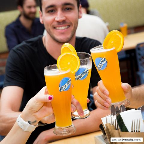 Served with an orange wheel to heighten the refreshing crispness of Blue Moon!